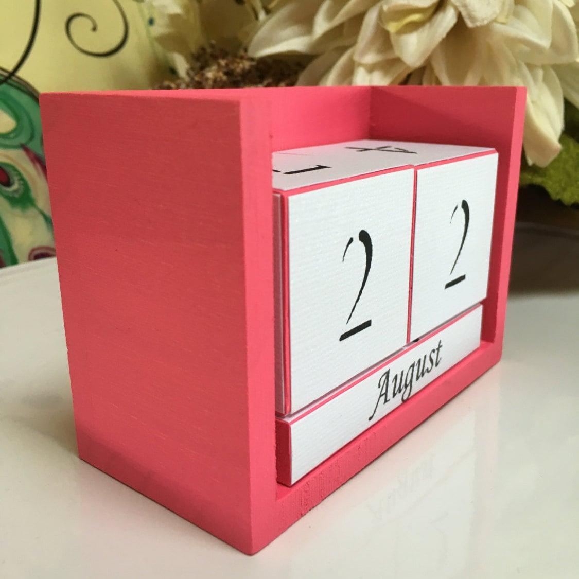 Calendar Wooden Blocks : Perpetual desk calendar wooden block hot pink