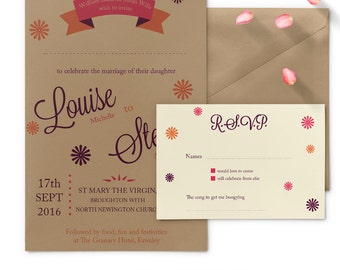 Rustic brights wedding invitation + RSVP with envelope