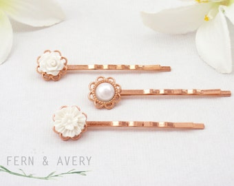 Rose gold flower hair pins. White pearl hair clips. Rose gold white bobby pins