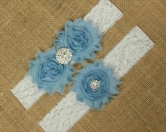 Wedding Garter Set, Bridal Garter, Garter Belt, Bridal Garter Belt, Blue Bridal Garter, Wedding Garter, Lace Garter, Blue Garter, SCWS-B01