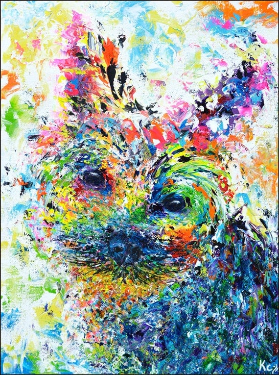 Yorkie Painting - Psychedelic Art. Colorful Yorkshire Terrier Painting. Psychedelic Painting. Psychedelic Dog Art by Krystle Cole.