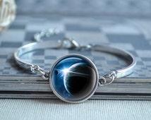 Galaxy Bangle,Moon Bracelet,Solar Planet picture charm bracelet,nebula space galaxy Broch Pin,picture Locket Necklace Watch Jewelry (SL006)