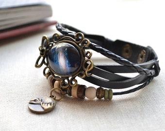 Galaxy bracelet,Milky way leather bracelet,braided leather bracelet,glass dome picture charm bracelet,pinky swear jewelry,steampunk (SL009)