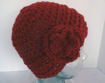 Crochet Turban,  Girls Turban Hat, Teens Turban Hat, Women's Turban Hat, Red Turban, Crochet Flower Hat