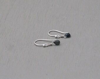 Tourmaline Gemstone earrings. Small  Tourmaline silver earrings. Stone Birthday dangle earrings. Dainty everyday earrings. delicate jewelry.