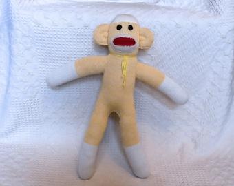 Sarah the Yellow Sock Monkey 19 inches by monSOCKeys, Handmade Red Heel Sock Monkey, Stuffed Monkey, Toy, Novelty Gift, Yellow Monkey, Doll