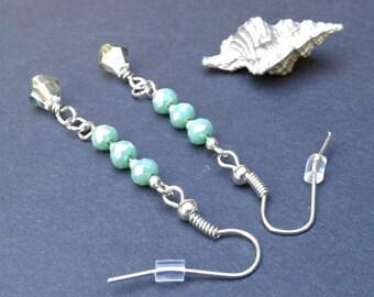 Green Earrings/Crystal Earrings/Silver Earrings/sparkly Earrings