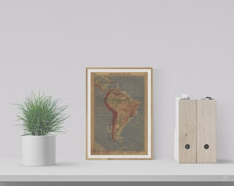 1934 Vintage Map of Latin America - Museum-quality Reproduction Print