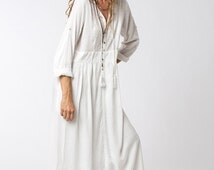 FLASH SALE Long Sleeve White Dress, Bohemian Dress, Loose Dress, White Maxi Dress, Long White Dress, Bohemian Chic, Womens Dresses