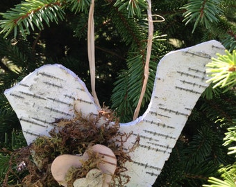 Birch Bark Wood Bird Ornament for Christmas or General Decor