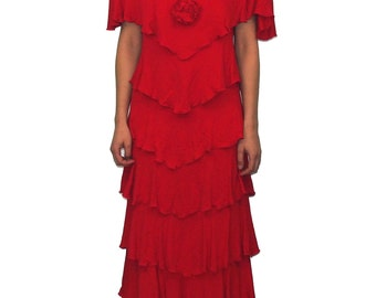 HOLLY'S HARP Vintage Tiered Red Dress SIZE Large 80s Rosette Flamenco Holly