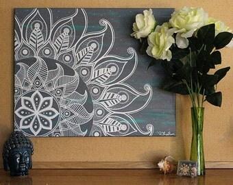Mandala Painting Wall Art - 16 x 20 inch Canvas - Meditation Painting // Flower Mandala // Oil and Acrylic Painting