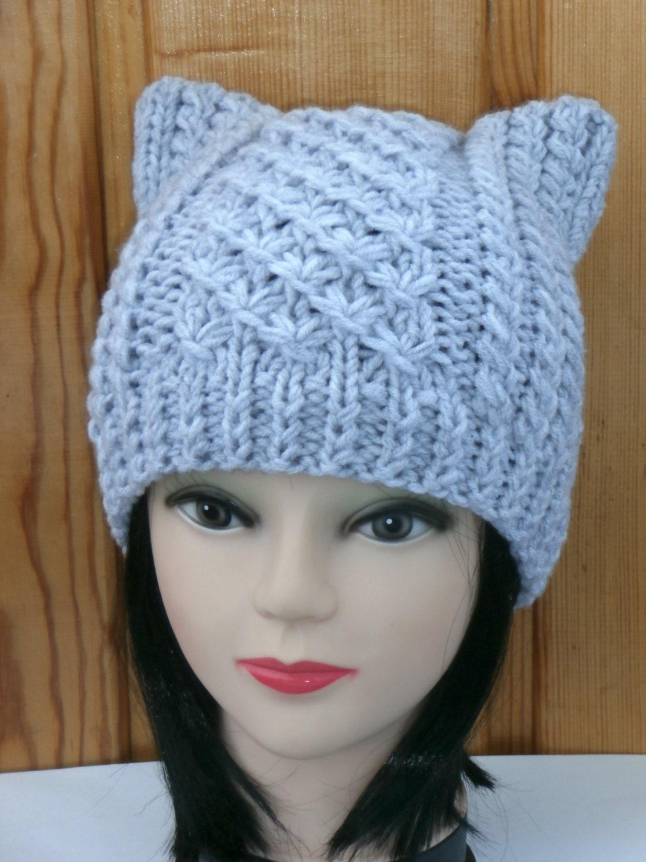 Cat ear hat knit cat ear hat cat beanie womens by nataknitwork - Free cat hat knitting pattern ...