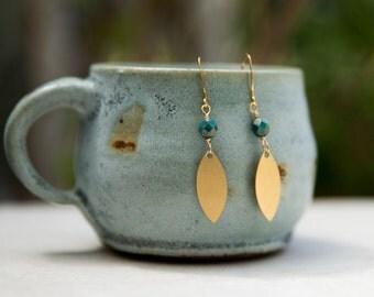 Brass and Bead Dangle Earrings, Brass Geometric Shape Earrings, Customized Jewelry, Brass Jewelry, Bohemian Jewelry, Simple Jewelry