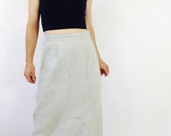 Oatmeal linen skirt linen maxi skirt beige maxi skirt vintage linen skirt vintage natural skirt long linen skirt long vintage skirt size S