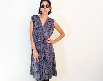 POLKA DOT DRESS, 90s vintage grey dress, casual dress, midi dress, V neck dress, Short sleeves dress, size L Xl