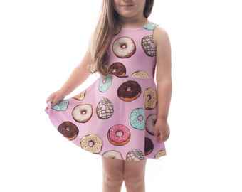 Donut Kids Dress, Printed Fun Bright Doughnut Baby Girls Dress