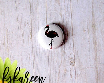 "Badge 1 ""- Flamingo metallic pink"