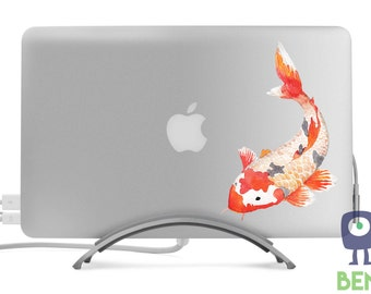 Koi Fish Decal #1- Cyprinus Carpio Haematopterus - Artistic Full Color Painted Style - Fits MacBooks Laptops or Cars - For Indoor or Outdoor