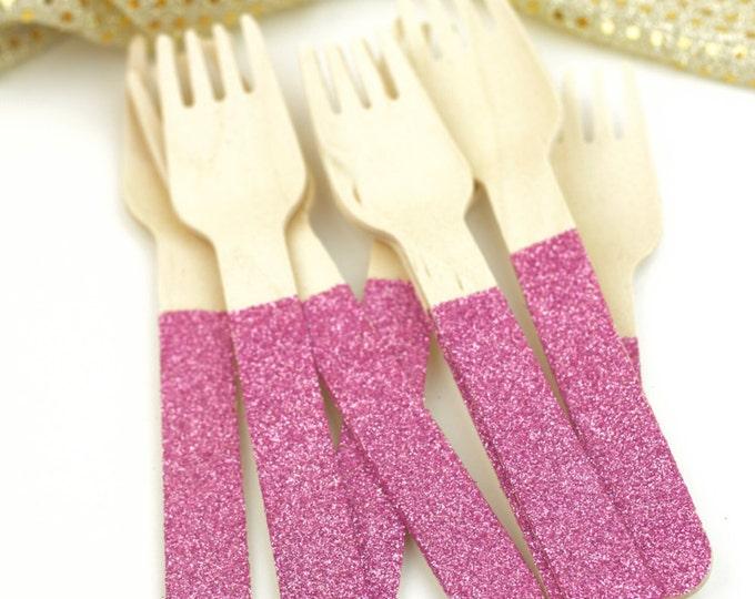 Blush Pink Glitter Wooden Fork, Blush Pink Glitter Silverware, Blush Pink Glitter Wooden Utensils, Glitter Party, Wood Utensil, Glitter Fork