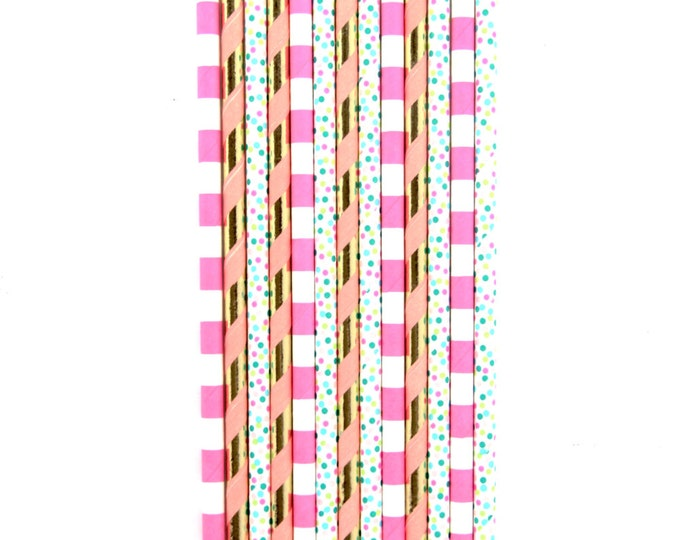Bright Pink and Mint Straw With Gold Flag, Paper Straw, Pink Straw, Gold Straw Flag, Baby Shower or Wedding Straw, Decorative Straw