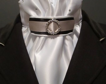 Equestrian Pzazz Euro-style stock tie in white, black and silver