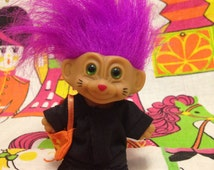 Vintage Russ Troll Doll with Purple Hair in Black Cat Halloween Costume 3""