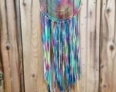 Rainbow Color Recycled Tie-Dye Vintage Doily Dreamcatcher
