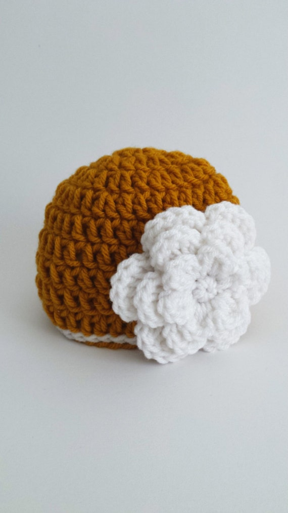 Newborn Gold Beanie w/ White Flower - Crochet Hat Gift Newborn - Baby Shower Girl Beanie - Ready To Pop Gift Ideas -Easter Gift Kids