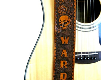 Skull and Roses Personalized Hand Tooled Leather Guitar Strap, Adjustable Guitar Strap, Customized Guitar Straps, Skulls & Roses