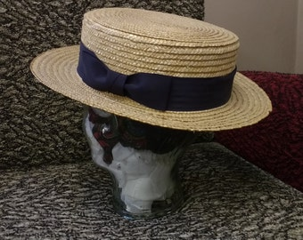 Vintage Straw Boater Hat Burgess Hats with Dark Blue Ribbon