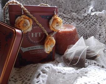 Orange and white crochet flower earrings and hemp necklace