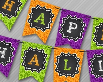 Halloween Banners, Halloween Decor, Halloween Party, Halloween Birthday, Banners, Instant Download, PDF, You Edit