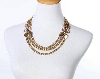 Gold Choker Necklace - Gold Chain Necklace - Chain statement necklace - Pink Necklace