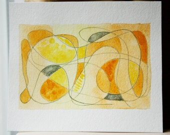Original Abstract Drawing - Summer - Modern Home Decor - For Small Spaces