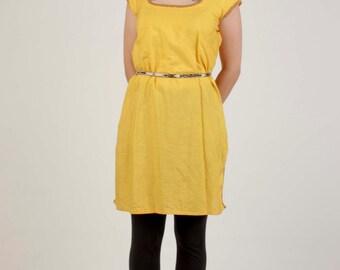 Handmade Vintage Tunic/Salwar Kameez/ Short Sleeved Yellow Tunic/Size Small