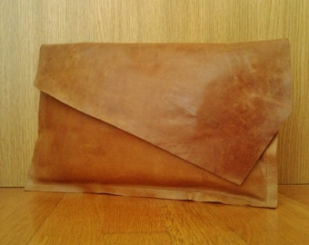 Tan Leather Clutch Bag with Diagonal Flap, Camel Leather Clutch with Asymmetric Flap, Tan Leather Purse, Camel Leather Shoulder Bag