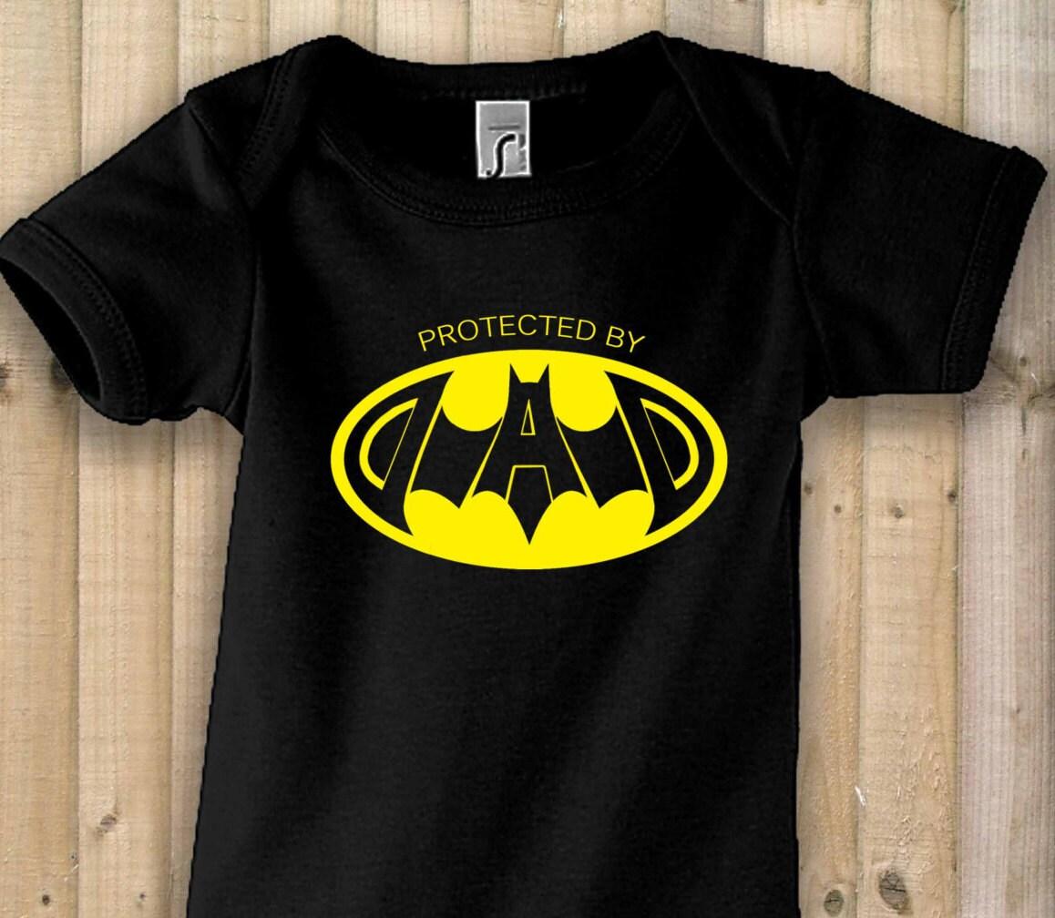 Funny Onesie Bodysuit Batman Protect By Dad Birthday Gift Newborn Baby Grow Daddy NEW