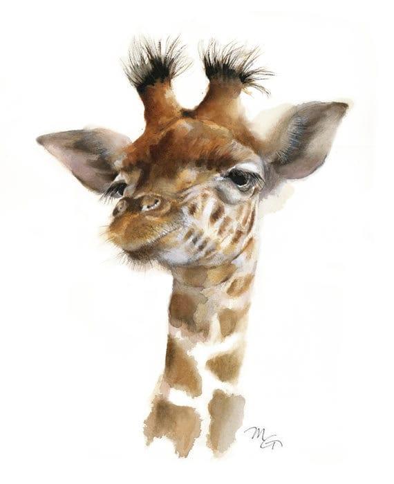 Giraffe Watercolor Giclee Print Baby Animal Art Nursery