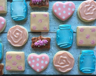 2 Dozen Shabby Chic Mini Decorated Cookies