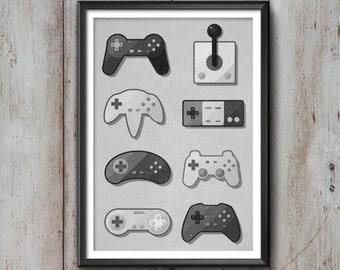 Game Pad Print, Gaming Poster, Gaming Art, Gaming Wall Art, Gaming Print, Gaming Illustration, Vintage, Gaming Decor, Retro, Hipster, Cool