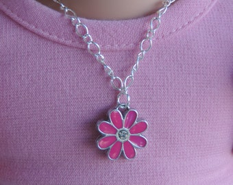 Pink Daisy Silver Pendant Necklace for American Girl Dolls and other 18 inch dolls