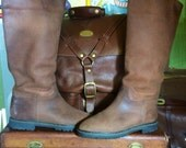 Vintage LA VALLEE Tall Distressed Brown Suede Leather & Sherpa Lined Boots Women's Size 7 7.5 --Made in Canada