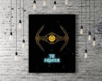 Tie Fighter Star Wars Decor, Spaceship Gold And Blue Artwork, Printable Star Wars Gift, Spacecraft Galaxy Print, Poster Movie Lover