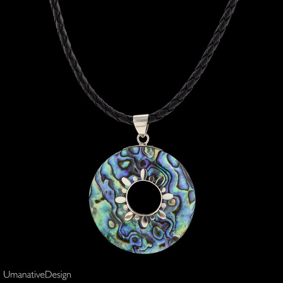 Paua Shell Pendant. Sterling Silver Abalone Necklace.