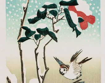 "Japanese Ukiyo-e Woodblock print, Ando Hiroshige, Flowers, Birds, Winds, Moon ""Spallow & Camellia in the Snowfall"""