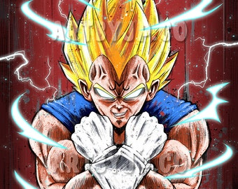 Majin Vegeta | Super Saiyan | Dragonball Z inspired Poster | digital art | painting | quality giclée print