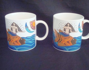 "Set of 2 VINTAGE 1989 LAUREL BURCH ""The Sea Goddess"" Mugs - Excellent!"