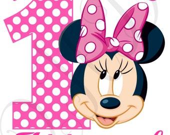 Minnie Birthday Polka Dot Iron On - Digital - You Print