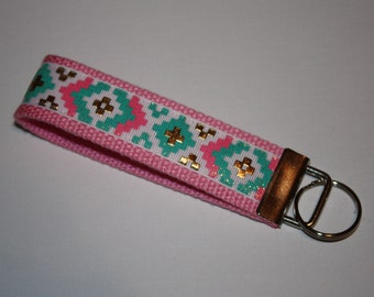 Pink, Aqua, and Gold Aztec Key Fob/Key Chain Wristlet
